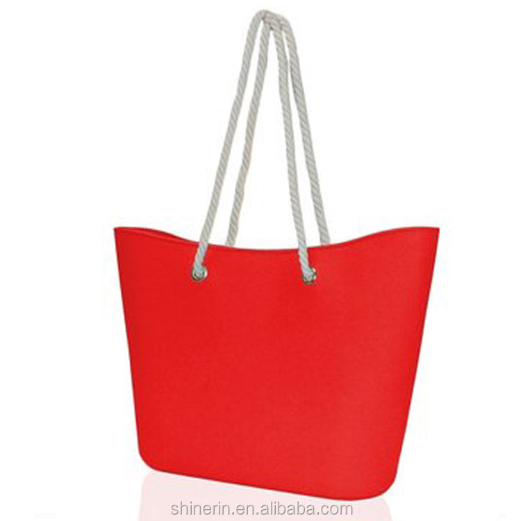 Red Jute Shoulder Tote Hobo Bag Women Shopping Purse Tote Silicone Summer Beach Bag