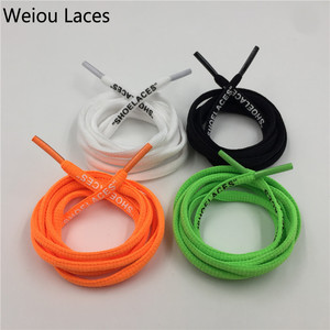"Weiou Black White Orange Green OW Signed Jointly Shoelaces Bootlaces For Off Shoes Oval Rope Laces With Printing ""SHOELACES"""
