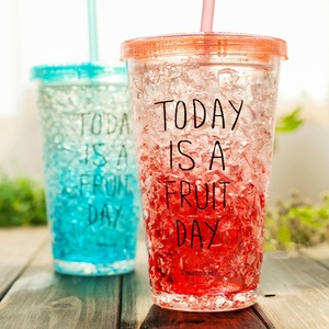 Factory direct sales color changing magic cup lid straw double wall plastic tumbler cup