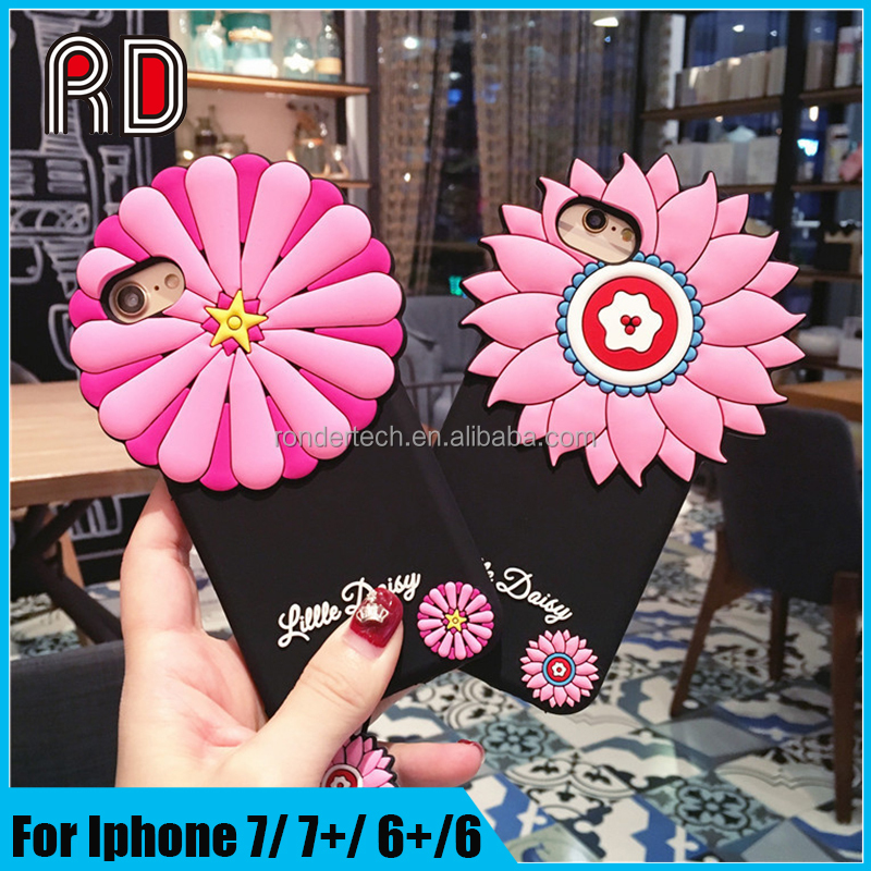 High quality littie dasiy 3D flower neck hanging soft silicon phone case for iphone 7 7plus