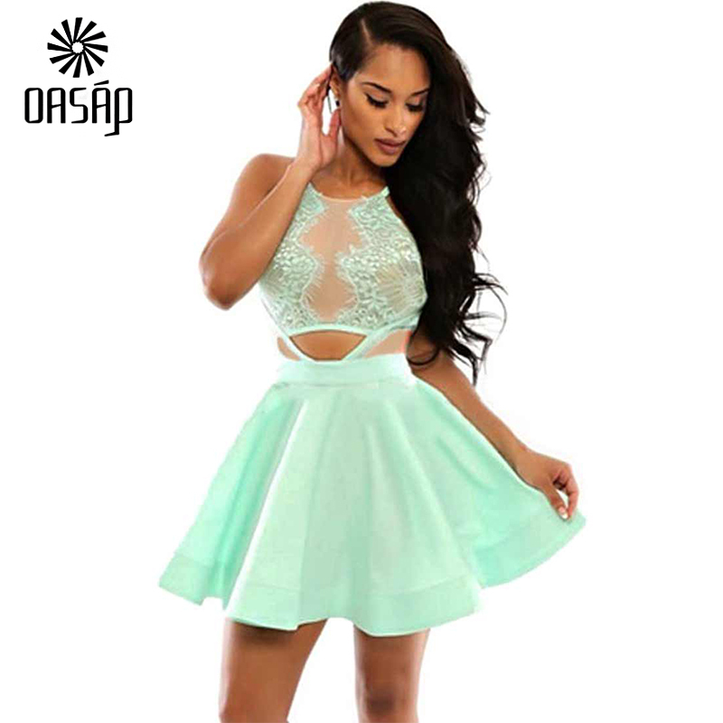 e929554ad6 Get Quotations · OASAP 2015 fashion sexy summer dress Green Sexy Cutout  Lace Skater Dress Hot Sale sleeveless sexy