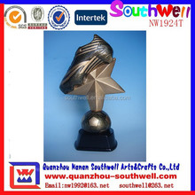 best selling resin custom popular design soccer shoot star trophy
