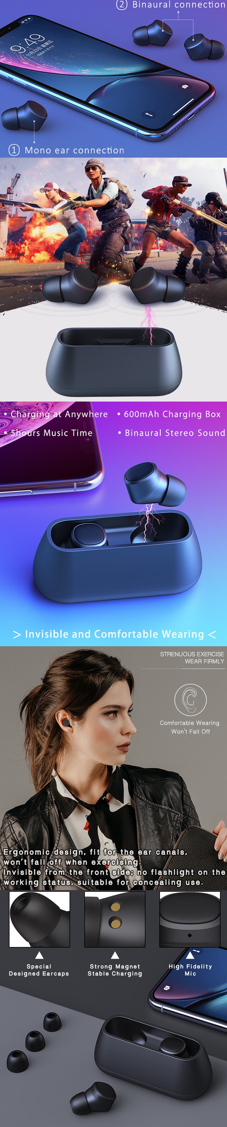 T1 Wireless Bluetooth 5.0 Earphones with Charging Box and Hi-Fi Mic for QCYt1s