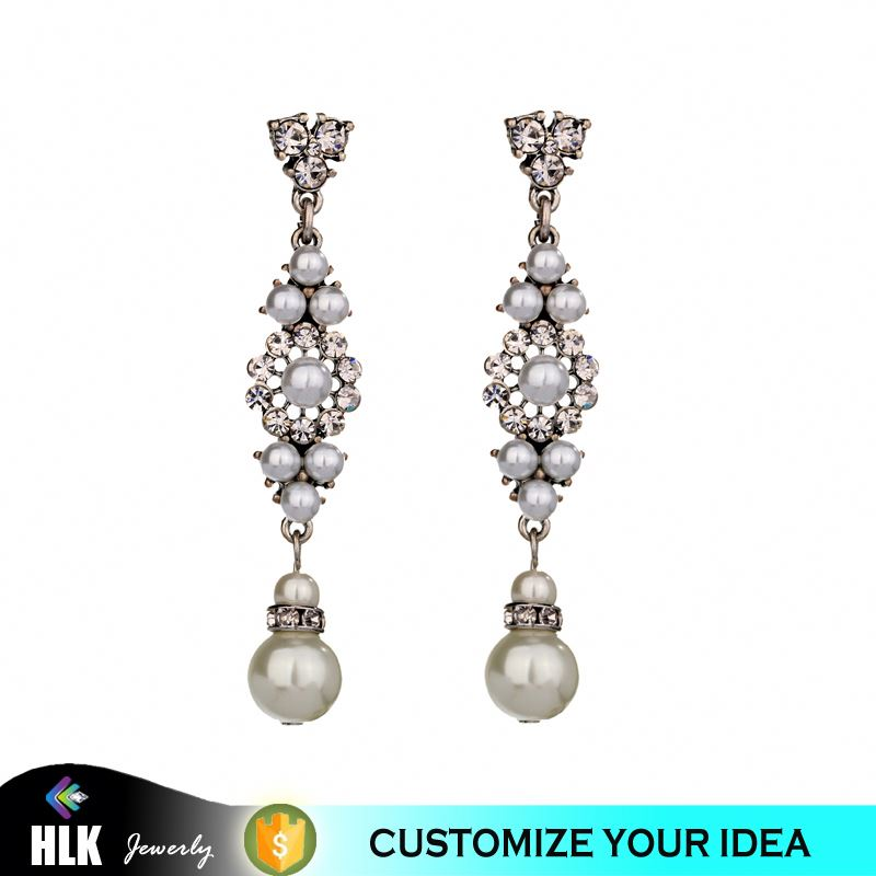 Gl jewelry hollow-up crystal pearl long women earrings for wedding