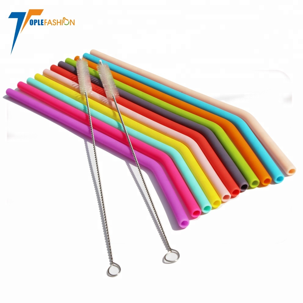 Reusable bendy bpa free non disposable safe cool silicone smoothie drinking glass straws фото