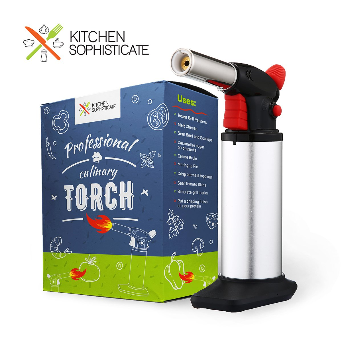 Professional Culinary Torch (Butane) Kitchen Cooking Tool for Searing Food, Meat, Crème Brulee | Adjustable Flame, Safety Lock | Chef Craftsmanship, Home Use