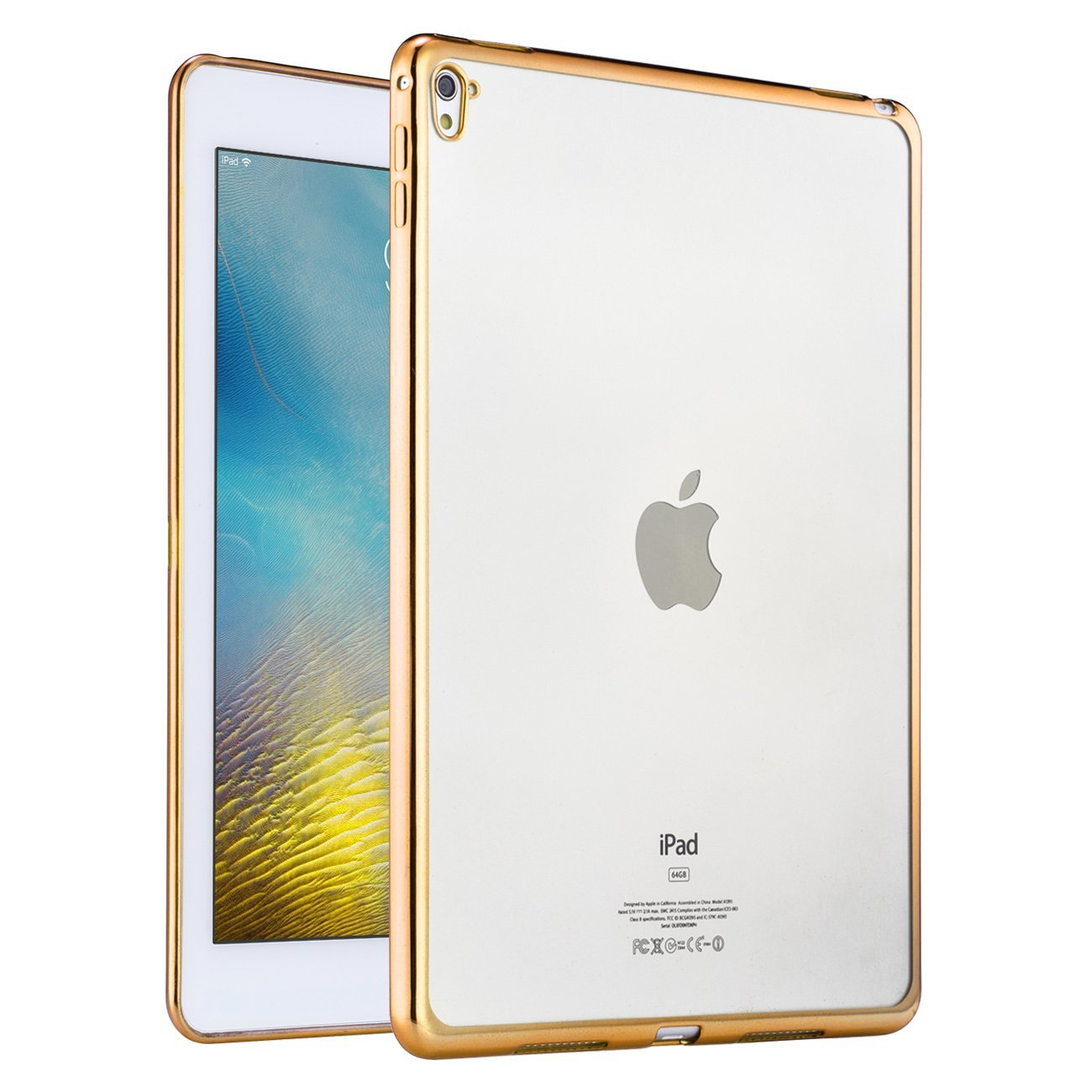iPad Mini 3, 2 and 1 Case, SHEROX - [Anti-Scratch] Shock-Absorption Clear TPU Bumper Case Slim Fit Soft Cover Shell with Electroplate Frame Fit for Apple iPad Mini 1/2/3 (TPU-Champagne Gold)