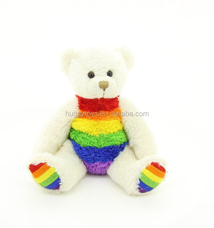 Hot selling nice rainbow teddy bear plush stuffed toys baby toys whole