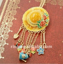 Fashion golden enamel crystal hat brooch also do necklace Pendants