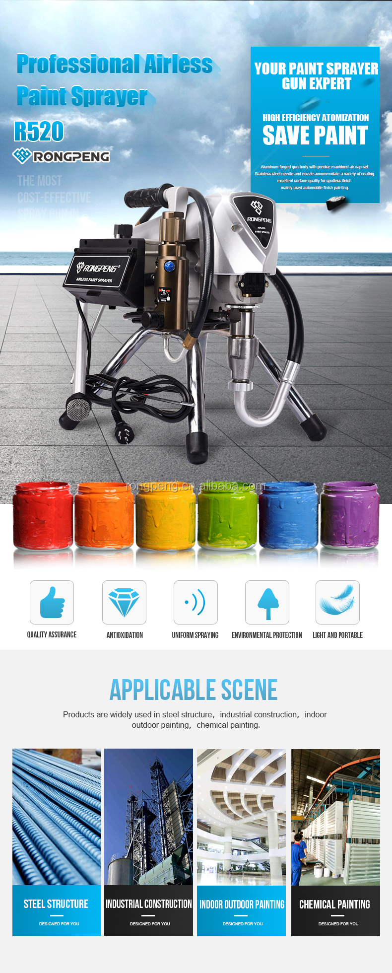 RONGPENG CE Certified Steel Low Power Electric High Pressure Pump Sprayer  220V 5/8HP Airless Paint Sprayer With 818 Airless gun, View High Pressure