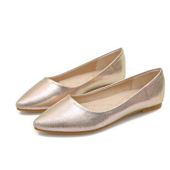Zapatos Planos Dorados De Corte Bajo De Alta Calidad Sp3824a De Punta Estrecha Para Mujer De Talla Grande Buy Zapatos Planos Dorados Para