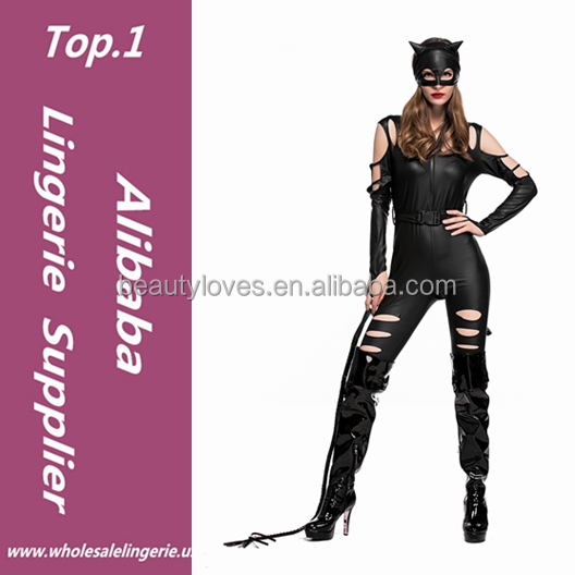 adult Costume Cat fancy Leather Jumpsuit Nighty Hot Sexy Catsuit Black Cat Halloween patterns Costume