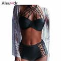 Plus Size Summer Swimwear High Waist Bikini Swimsuit Black Green Strappy Push up Padded Bra Swimsuit