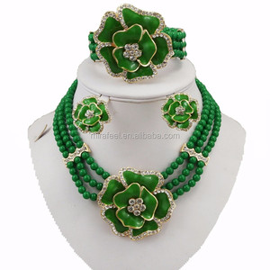 bridal necklace set online wedding jewellery sets green color
