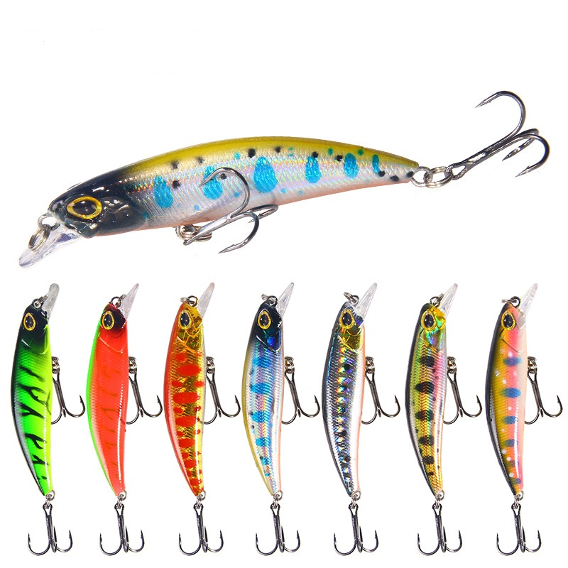 Fulljion 4G/7CM Minnow Fishing Lures 3D Fish eyes Crankbait Wobblers Artificial Plastic Hard Bait peche Fishing Tackle Meredith, 7 colors