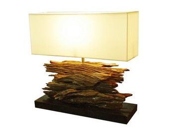 Wooden Bark Table Lamp