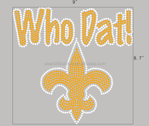 Flur de lis rhinestone heat transfer iron on who dat!