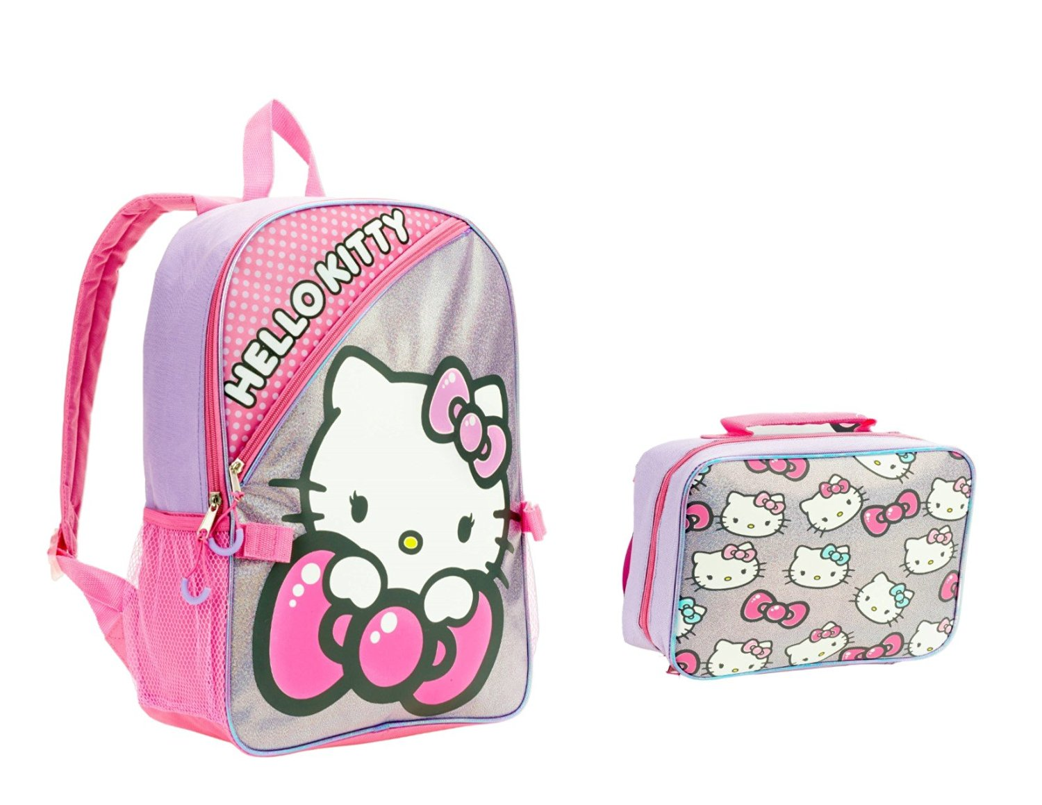 de501184ba Hello Kitty Backpack for Girls Large 16 with Lunch Bag Glitter Graphics