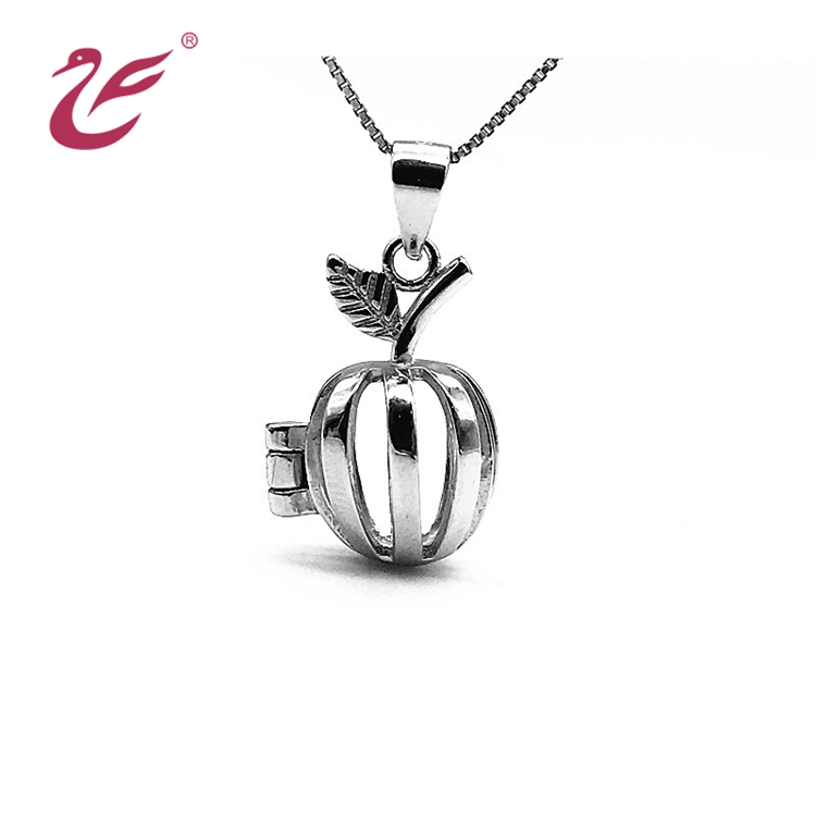925 Sterling Silver plated cage pendant apple design pearl cage pendant