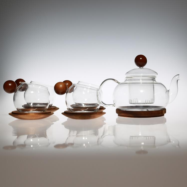 Round Wood Handle Heatproof Kettle Cups Set Glass Tea Pot With Filter