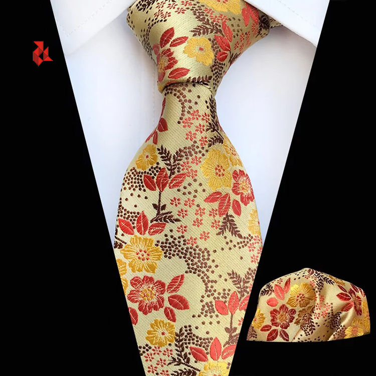Men's Floral Tie Handkerchief Woven Jacquard Flower Neck Ties and Pocket Square Set
