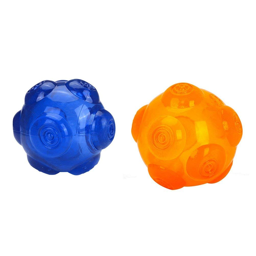 POPETPOP 2Pcs Dog Toys Squeaky Ball, Squeaky Toy for Dog Training, Pet Tooth Bite Toys, Puppy Silicone Molar Balls Interactive Toys for Small and Large Dogs Pets (Blue and Orange)
