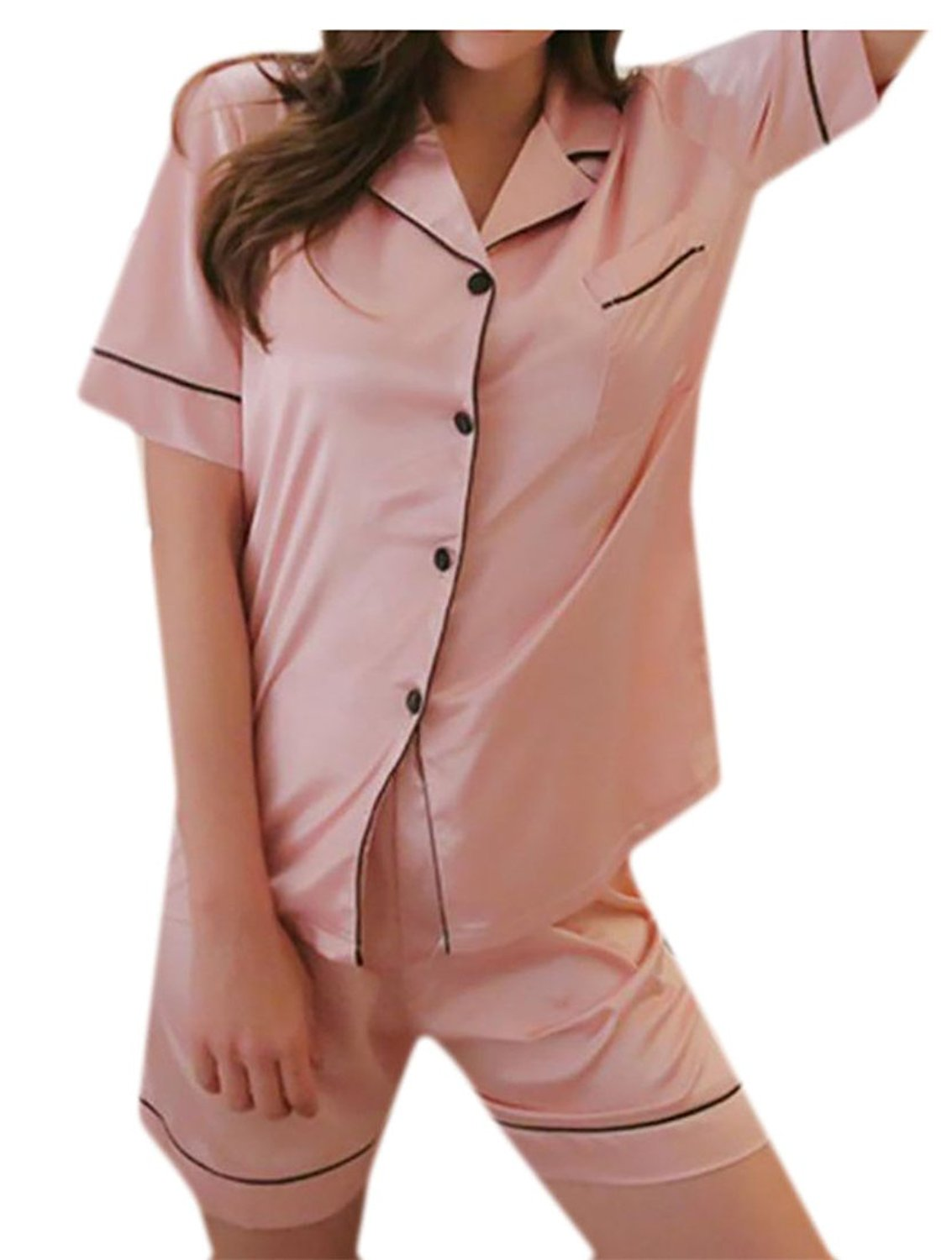 03a942dcf6 Get Quotations · Wofupowga Womens Pajama Set Solid Silk Satin Long Sleeve  Lapel Nightwear Pink1 S