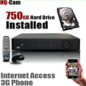 HQ-Cam 8 CH Channel CCTV Security Camera Standalone DVR System with 750GB Hard Drive Pre-installed - Real Time 3G Mobile