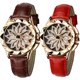 Hot Cheap Ladies Crystal Diamonds Fancy Woman Leather Japan Movt Rotating Dial Watch