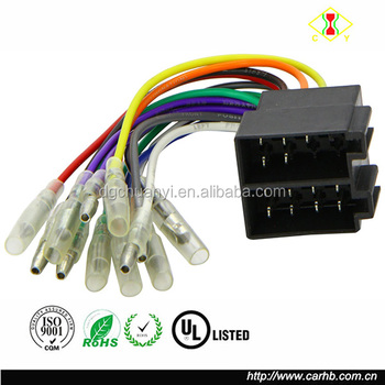 male universal iso radio wire wiring harness adapter connector car adaptor  plug
