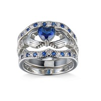 Unique Holding Created Sapphire love Heart ring AAA+ CZ Wedding Ring Sets White gold Silver Plated Blue Crystal heart rings set