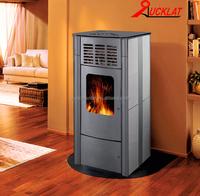 Wood pellet boiler stove with air heating