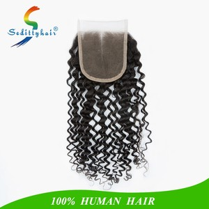 "OEM branded MALAIKA human hair curly 8"" 10"" 12 inch 16 inches Middle part 4x4 baby hair lace closure for white women"