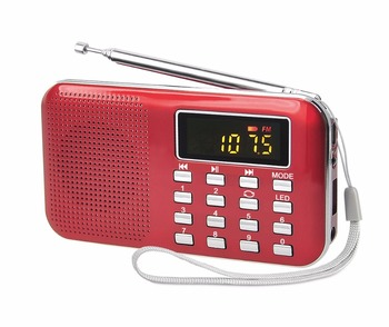 new high quality LED light small thin fm portable radio mini digital card mp3 music player