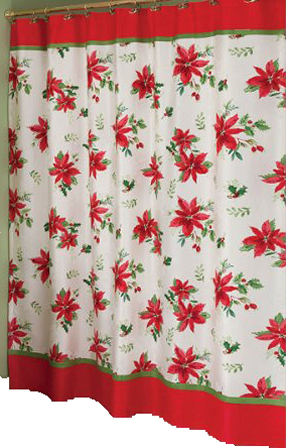Lenox Winter Meadow Christmas Poinsettia Fabric Shower Curtain