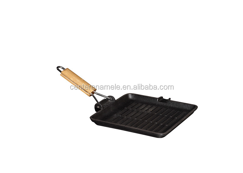 Hot sale preseasoned wooden handle cast iron meat grill pan fry pan