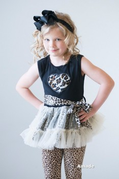 Black Leopard Crystal Heart Ruffled Top and Pants with Black Bow Headband