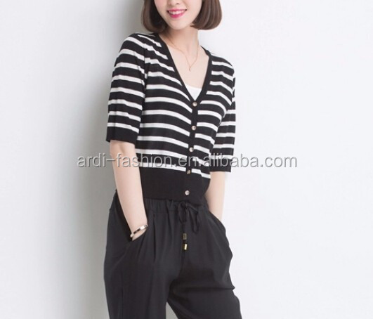 2016 V neck black white striped 3/4 length sleeve ladies cropped cardigan