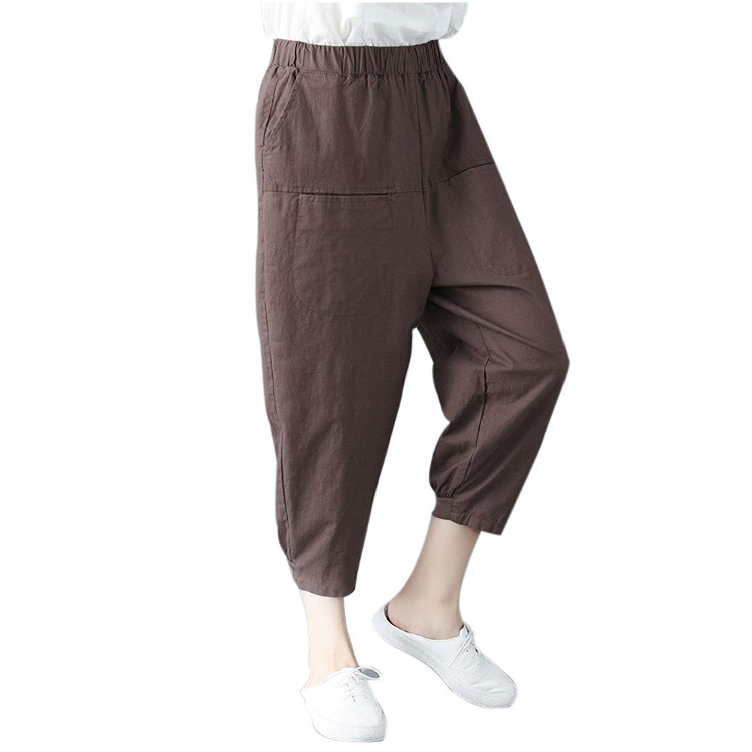 f8f01aaceac8 Get Quotations · FarJing Pants for Womens,Clearance Sale Women Solid Color  Pocket Elastic Waist Linen Pants Trousers