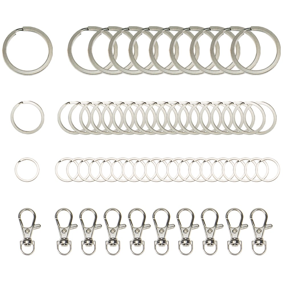Jeffirm 60pcs Key Chain Ring Split Rings Key Chains for Keys Organization Silver Color