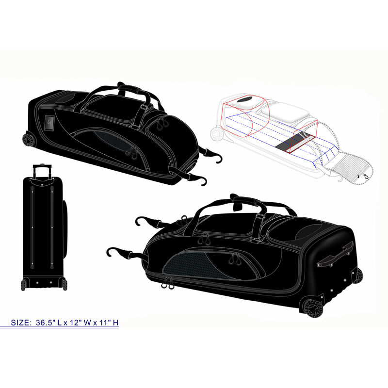 2018 Black Baseball Equipment Bag on Wheels