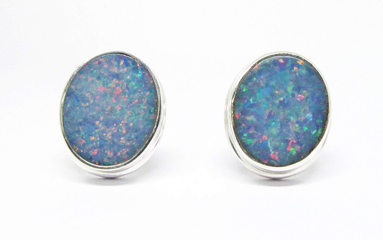 e7f027358 handmade 925 sterling silver australian doublet fire opal stud earrings,  genuine doublet opal stud earrings