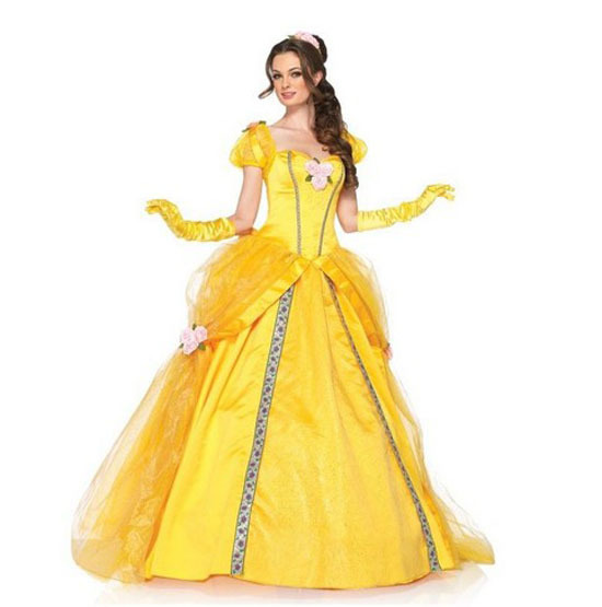 Get Quotations · Free Shipping Hot Sell Adult Halloween Deluxe Princess BELLE  Ball Gown Costume Fancy Dress Cosplay Cotume 9f2a022f4408