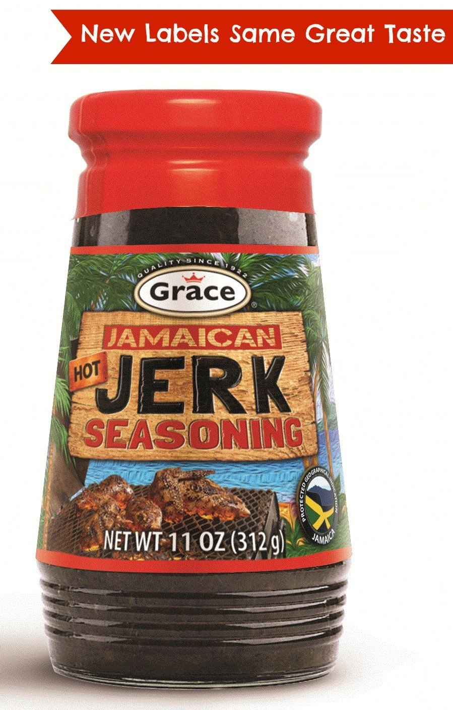 Grace Jerk Seasoning - Hot - 1 Bottle 10 oz - Spicy Authentic Jamaican Jerk Sauce - Caribbean Marinade Rub for Chicken, Pork, Fish, Vegetables, Steak, Tofu and More - Bonus Jerk Cooking Recipe eBook