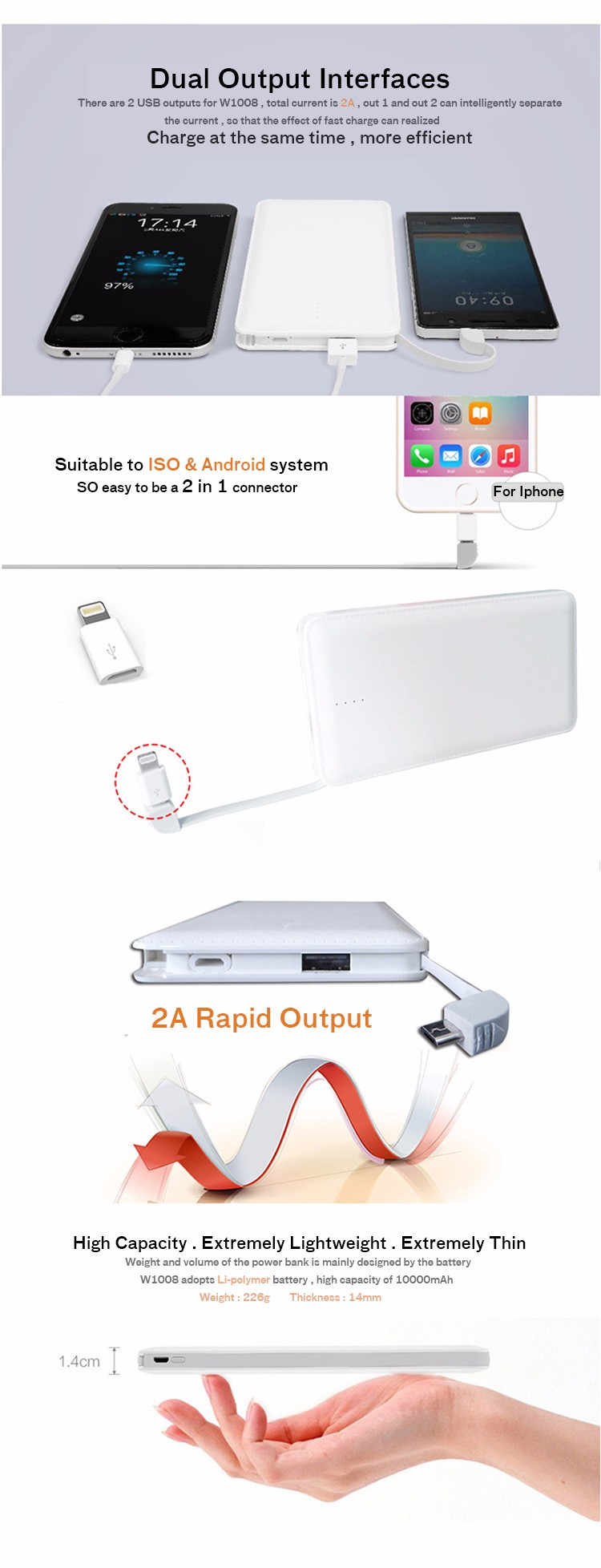 Phone power banks usb power bank custom logo portable powerbank oem odm universal 10000mah
