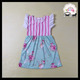 2018 yawoo designs children pink stripe ruffle sleeve floral print fashion korean style latest girl dress designs