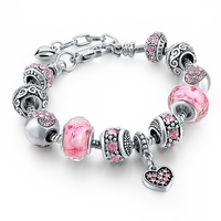 Charm Pink Color Silver Bracelet Jewelry For Women,Girls Smart Charm Bracelet