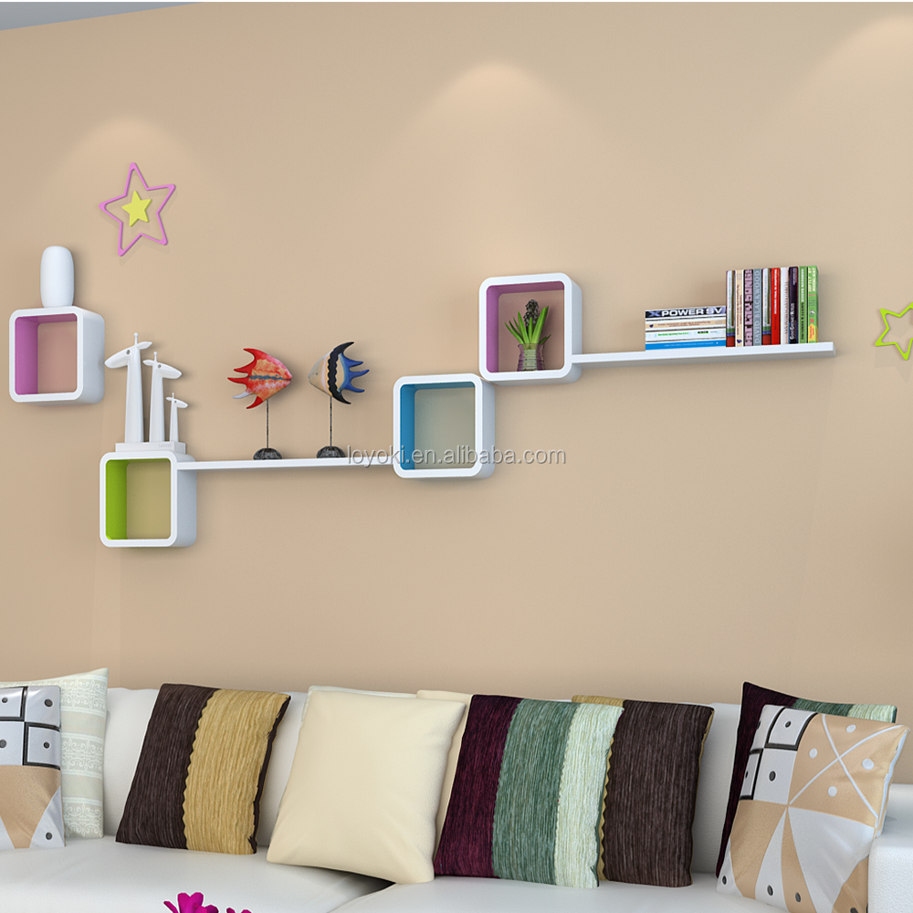 2016 new design MDF wood wall shelf lovely DIY home decoration with floating shelves wholesale