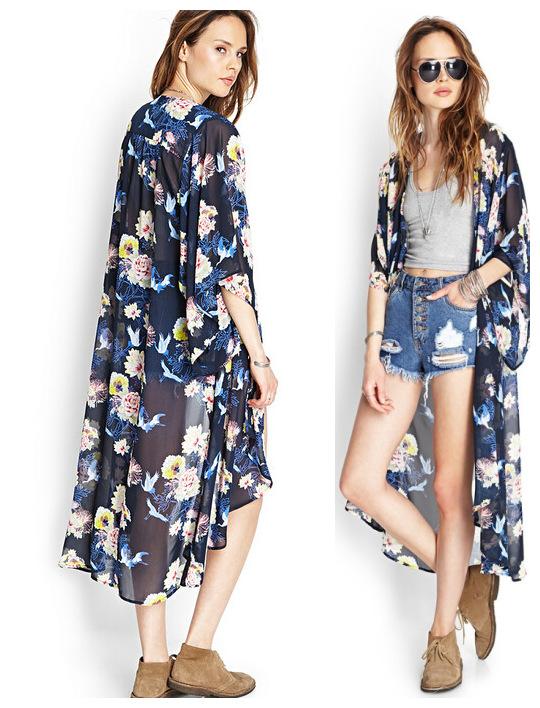 d9803ef0a7 ... Tops   Get Quotations · Summer Women Half Sleeve Floral Print Long  Kimono Cardigan plus size women clothing UK ...