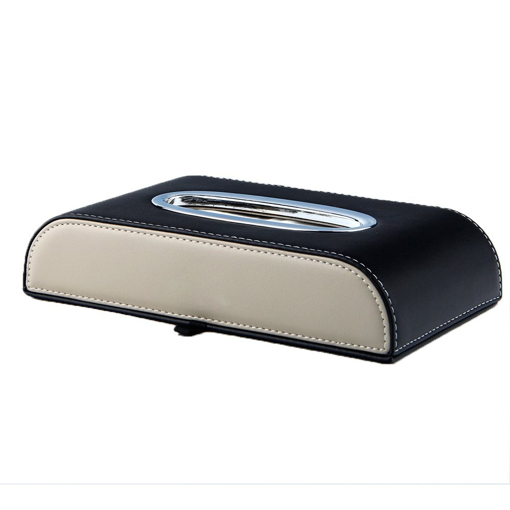 Leather Facial Tissue Box Napkin Holder for Home Office, Car Automotive Decoration (Black+Beige)